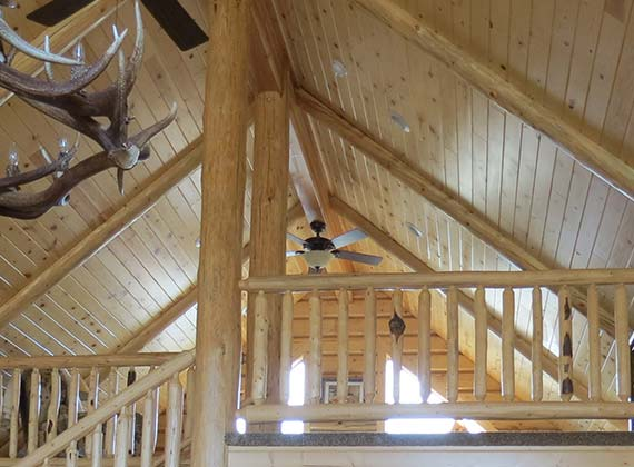 Arbogast Custom Log Home Stairway