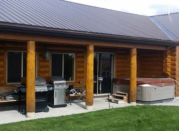 Hawks Exterior Porch Custom Log Home